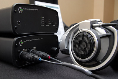 The Sennheiser HD800 driven in balanced mode by HeadRooms Ultra Desktop DAC and Balanced Ultra Desktop headphone amplifier.